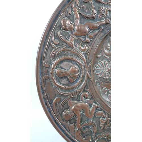 115 - A 19th century French copper and silver plated tray, of oval form with wide rim and high footrim, ca...
