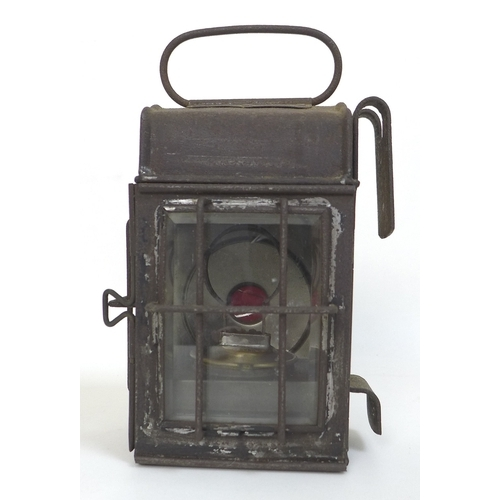 76 - A Vacuum Oil Company 'Vaclite' carriage or cart lamp, brass plaque to interior, bevelled glass sides...