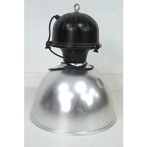 213 - An industrial pendant light, with black body and brushed steel shade, 49 by 49 by 65cm high....
