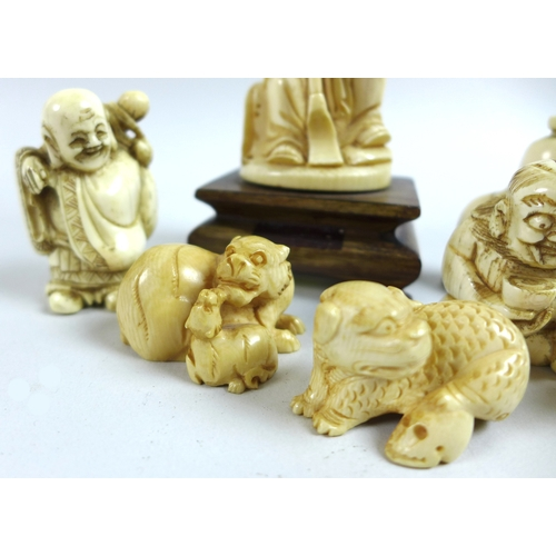 113 - A group of six Japanese ivory katabori netsuke, Meiji period, comprising Oni seated holding a bowl a...