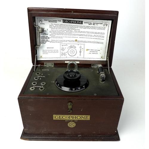 62 - A Gecophone Crystal Detector Set No 1, in a mahogany case, circa 1920, with original instruction car...