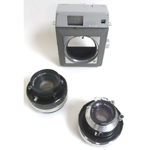 80 - A collection of vintage cameras, lenses and equipment, including a Yashika Electro 35, Mamiya Super ...