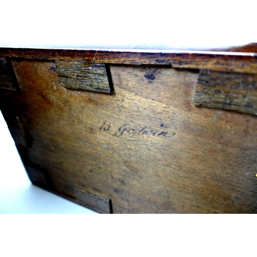 67 - A Georgian mahogany knife box, with fan patera and line inlaid decoration, 23.5 by 30 by 38.5cm, tog...