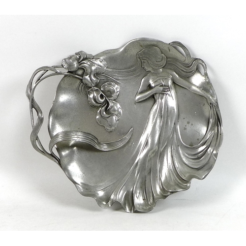 94 - An Art Nouveau cast pewter dish by Achille Gamba, Italian circa 1900, decorated in relief with a you...