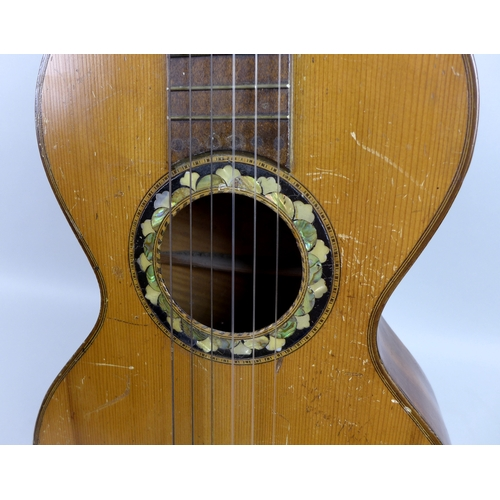 111 - A Victorian Classical guitar, the rim of the sound hole inlaid with abalone and mother of pearl, the...
