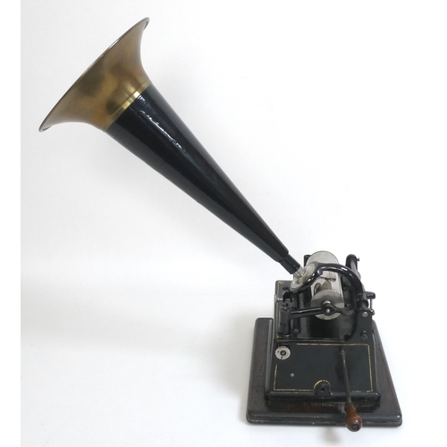 107 - An Edwardian Edison Gem phonograph, with model C reproducer, serial 510796, oak cased, with black pa...