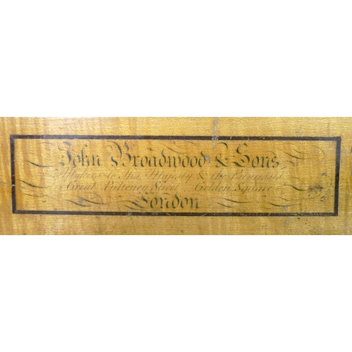 280 - An early 19th century square piano by John Broadwood & sons, London, mahogany case raised on six tur...