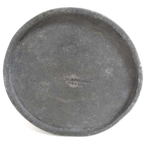 97 - A collection of 17th and 18th century and later pewter items, comprising two wide rimmed plates, 37c...