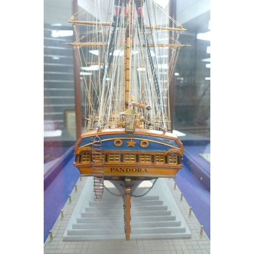 149 - A scratch built model frigate 'HMS Pandora', built by Henry Lygo, during 1997-2000, in a five glass ...