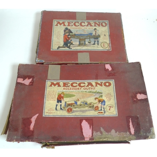 132 - A large collection of vintage 1950's Meccano, including Meccano Accessory outfit 7A Box, gears, cloc...