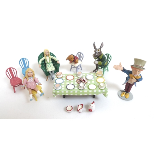 128 - Moorland Miniatures, a set of Alice in Wonderland painted pewter figures depicting the Mad Hatter's ...