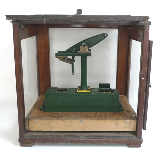133 - A vintage cast metal model of a beam engine, by Stuart, partly assembled and likely incomplete, pain...