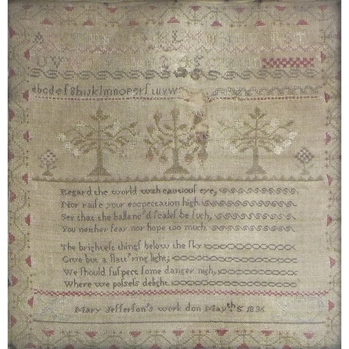 151 - A William IV sampler, cross stitch embroidered onto linen, 'Mary Jefferson's work don May th5 1836',...