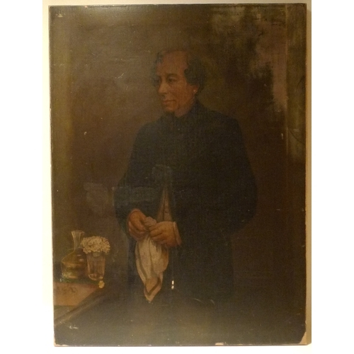 159 - After G. H. Barrable: an oliograph portrait of Benjamin Disraeli, laid onto canvas, 81 by 61cm, unfr...