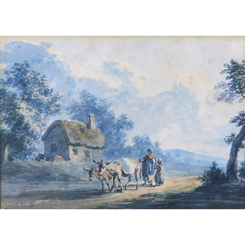 170 - Peter La Cave (British, fl. 1769-1810): 'Woman and child driving donkeys', watercolour over pen and ...