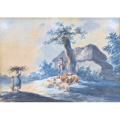 172 - Peter La Cave (British, fl. 1769-1810): 'Shepherd conversing with woman and child gathering twigs', ...