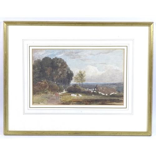 173 - David Cox (British, 1783-1859): 'Landscape with sheep and cottage and a figure', watercolour, signed...