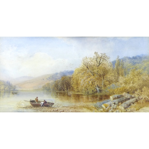 171 - Cornelius Pearson (British, 1820-1891): 'A lake landscape with figures in a boat by the water's edge...