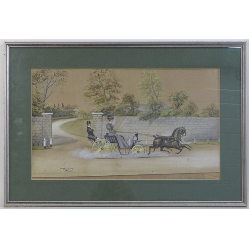 168 - Henry William Standing (British, 19th/20th century): an equestrian watercolour depicting a Victorian...