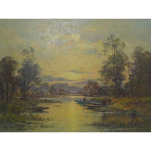 195 - Eugene Demester (French, 20th century): 'Evening Light, Sologne Woods, France', an evening river sce...