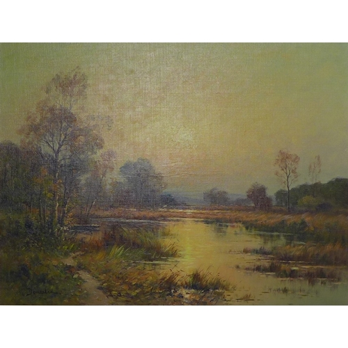 186 - Eugene Demester (French, 20th century): 'Sologne, France', an evening river scene, oil on board, sig...