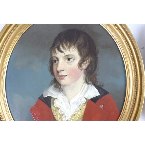 206 - English School (18th / 19th century): a pair of oval half length portraits, each depicting a boy in ...