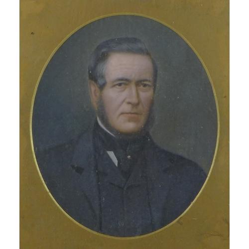 185 - British School (19th century): portrait of a gentleman, in Edwardian suit with cravat, oval format, ...