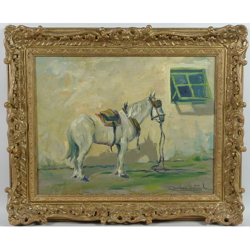202 - Carlos Sitorla (?) (Spanish School, 20th century): a horse standing by a white painted wall with a g...