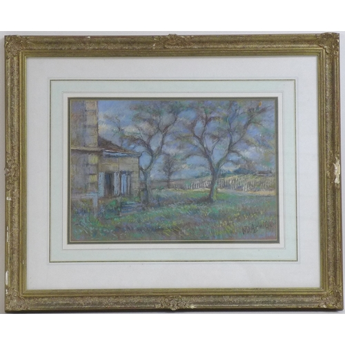 181 - Michael D'Aguilar (British, 1924-2011): a landscape scene, trees and farmhouse with vineyard beyond,...
