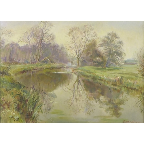 187 - Peter Walbourn (British, 1910-2002): Willows by the river, oil on board, signed, 38 by 53cm, framed....