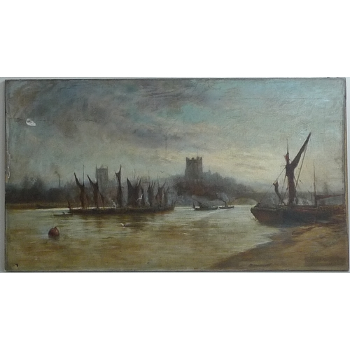 184 - J. Hale-Sanders (1892): 19th century river scene, signed and dated lower right, oil on canvas, 99.5 ...