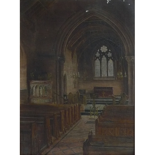 183 - H. E. Stacy (British School, 19th century): church interior, signed and dated 1889 lower centre, 60 ...