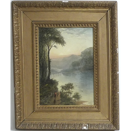 177 - Andrew J. Sticks (19th century): 'Evening', a lake scene with a man walking along a tree lined path,...