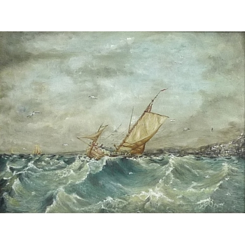194 - British School (19th century): a sail boat on choppy seas with guls circling, in the style of Julius...