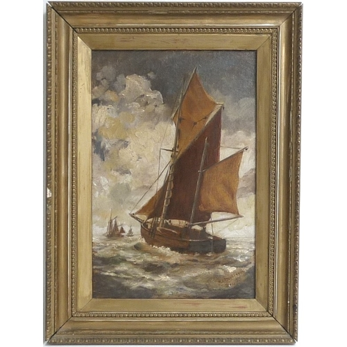 189 - M. I. Stephenson (British, 19th century): a wherrie at sea, signed lower right, oil on canvas, annot...