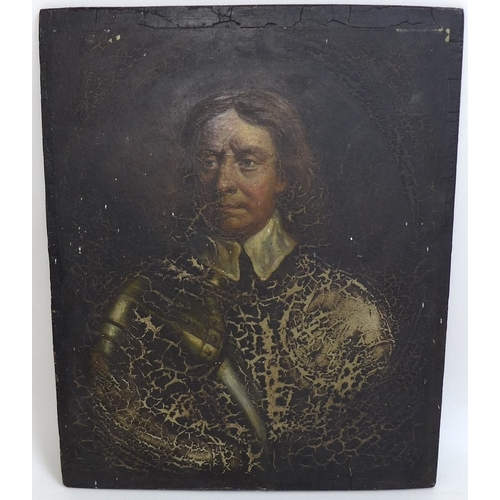 198 - British School (18th / 19th century): a portrait of Oliver Cromwell, half length, partly dressed in ...