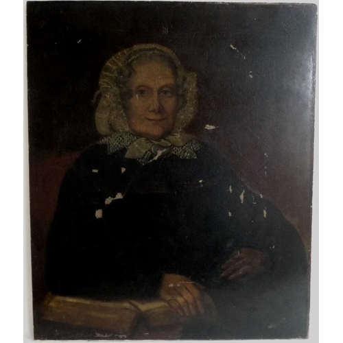 193 - British School (early 19th century): half length portrait of an elderly woman, seated wearing a mob ...