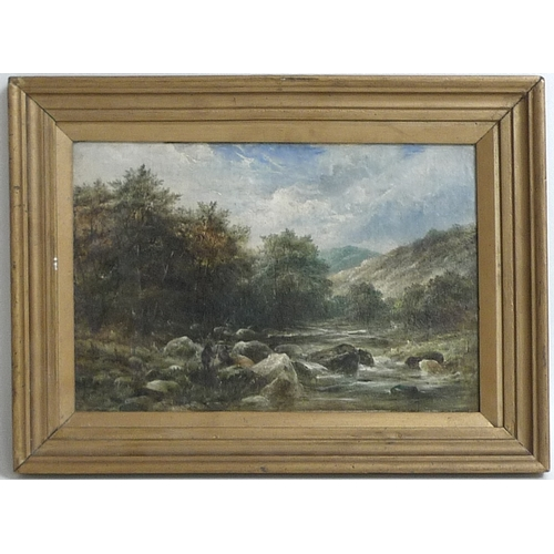 190 - G. M. Callow (British, 19th century): a rocky mountain stream, with fisherman on the tree lined bank...