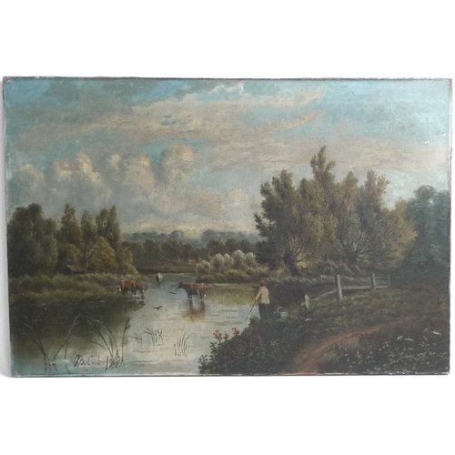 180 - B. Cooke (British, earl 20th century): a river landscape scene, with cattle in the river and figure ...