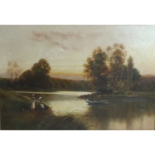 191 - P. Kemp (late 19th century): a river landscape scene, with man on a punt and two women on the bank, ...