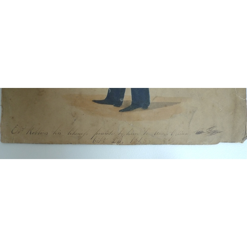 166 - A Victorian watercolour full length portrait, title below 'Edw Robbins his likeness presented by him...
