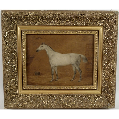 201 - George Morley (British, 1831-1889): a full equine study, of a dapple grey horse standing in stalls, ...