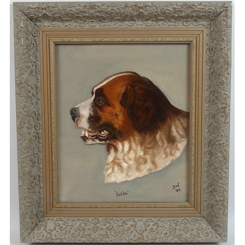 200 - A pair of dog portraits, 'Jack' and 'Goldie', each initialled 'B. W.' and dated '97 lower right, oil...