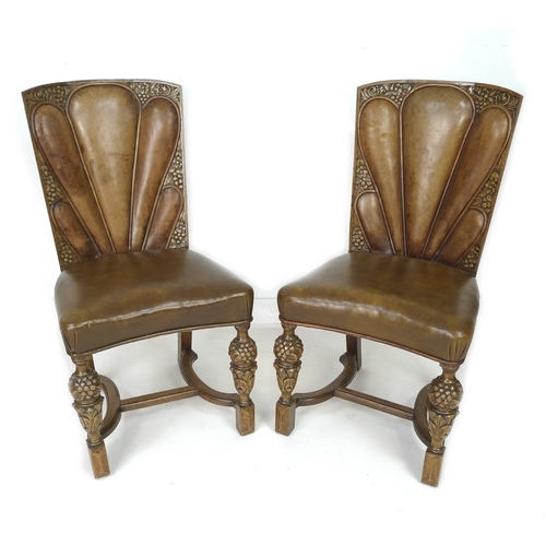 233 - A pair of unusual early to mid 20th century chairs, the backs with lobed leather upholstered backs, ...