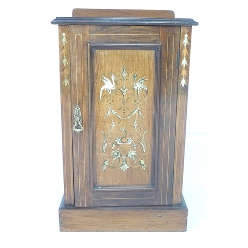 264 - A late Victorian rosewood and inlaid cupboard, in the manner of Collinson & Lock, decorated with bir...