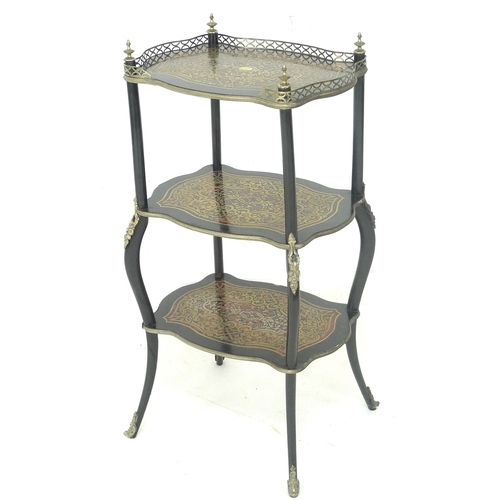 286 - A French 19th century tortoiseshell and brass inlaid etagere, three tier with pierced three quarter ...