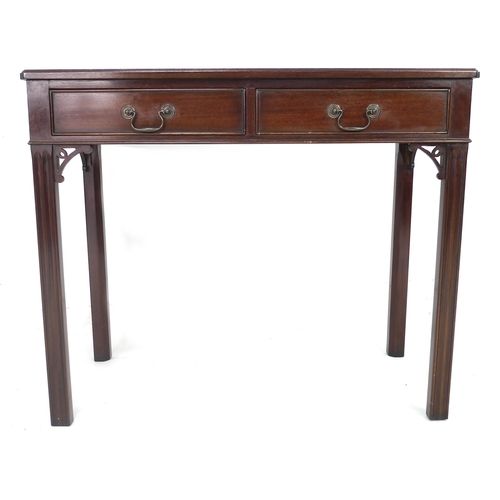241 - Two similar Georgian style mahogany side tables, each with two frieze drawers and brass swan neck ha...