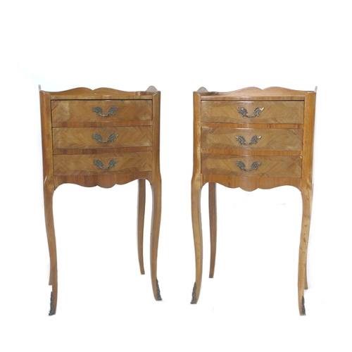 284 - A pair of French Louis XVI style bedside cabinets, marquetry veneered, each with single door, cabrio...
