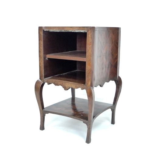 283 - An 18th / 19th century marquetry cabinet, possibly Italian, with inset grey marble surface, concave ...