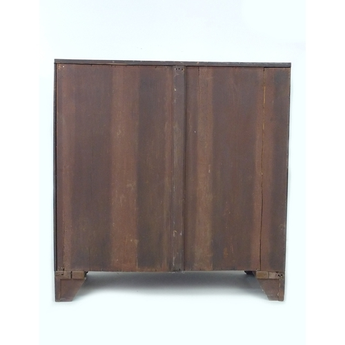 294 - A Regency mahogany chest of drawers, ebony strung and bowfronted, bracket feet, 99.5 by 55 by 104cm ...